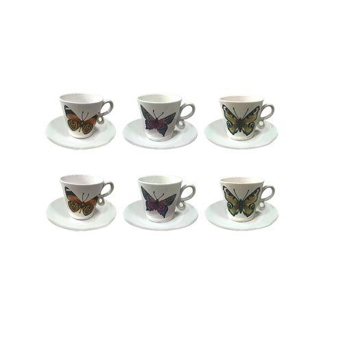Jogo 6 Xícaras com Pires para Café Borboletas 90ml - Dynasty