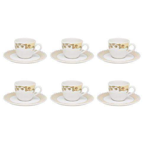 Jogo 6 Xícaras com Pires para Café Golden Porcelana Coup Oxford