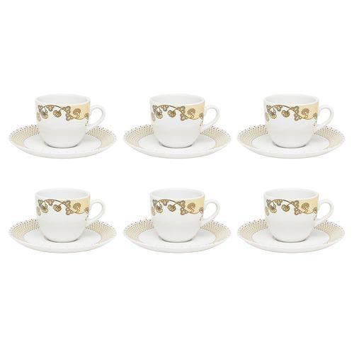 Jogo 6 Xícaras com Pires para Chá Golden Porcelana Coup Oxford
