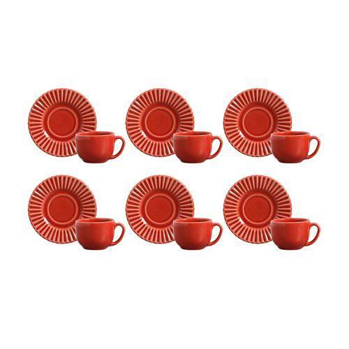 Jogo 6 Xícaras de Chá com Pìres Plissé Vermelho 416286 Porto Brasil