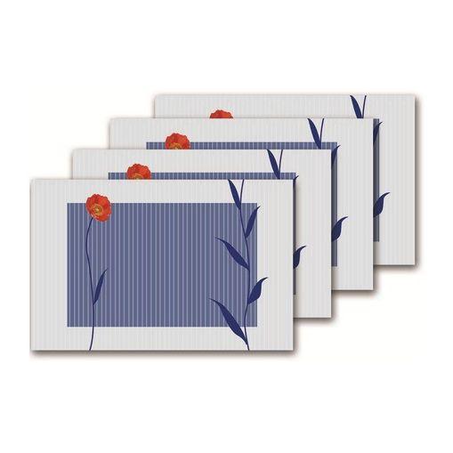 Jogo Americano Azul com 4 Peças Flor 570 Class