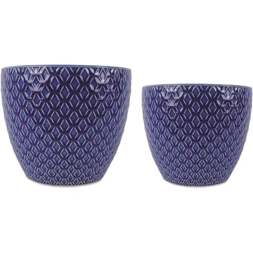 Jogo 2 Cachepot Azul em Cerâmica