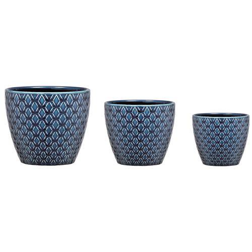Jogo 3 Cachepot Azul em Cerâmica