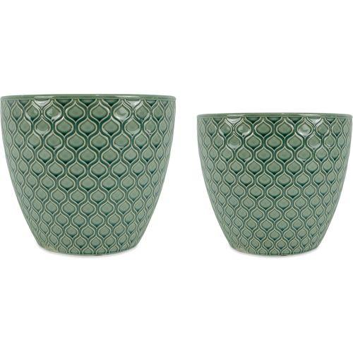 Jogo 2 Cachepot em Cerâmica Verde
