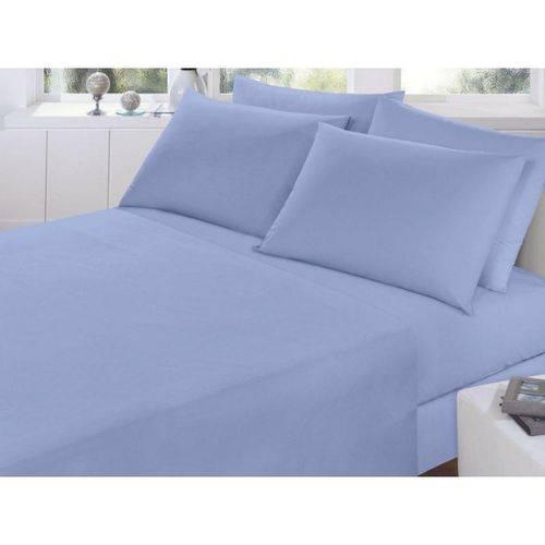 Lençol Casal Elástico Azul Percal 150 Fios - Fassini Têxtil