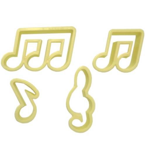 Jogo Cortadores Confeitaria Notas Musicais com 4 Peças - Blue Star