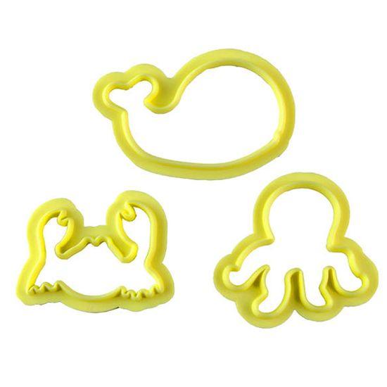 Jogo Cortadores de Pasta Americana e Biscuit Blue Star Animais Marinhos II com 3 Peças
