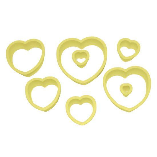 Jogo Cortadores de Pasta Americana e Biscuit Blue Star Coração com 8 Peças