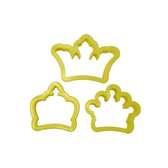 Jogo Cortadores de Pasta Americana e Biscuit Blue Star Coroa com 3 Peças