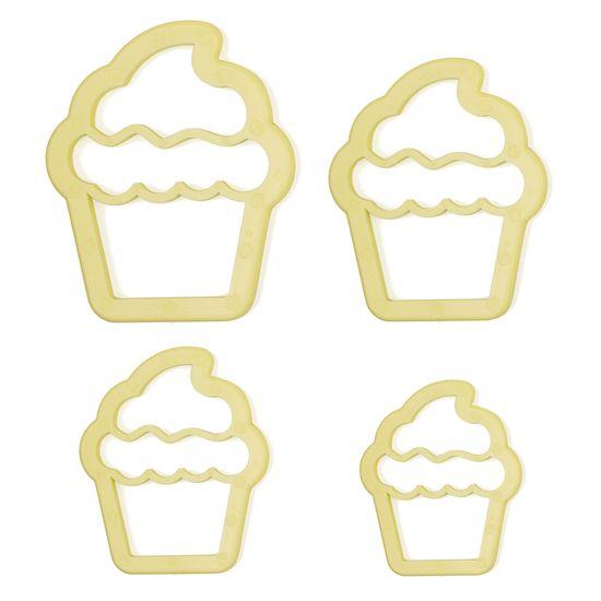 Jogo Cortadores de Pasta Americana e Biscuit Blue Star Cupcake com 4 Peças