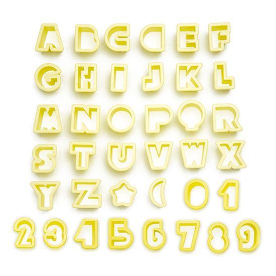 Jogo Cortadores de Pasta Americana e Biscuit Blue Star Letras e Números com 38 Peças