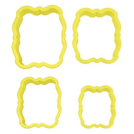Jogo Cortadores de Pasta Americana e Biscuit Blue Star Moldura I com 4 Peças
