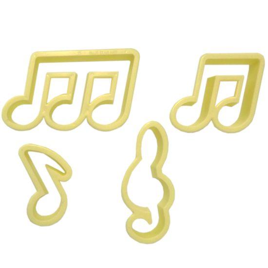 Jogo Cortadores de Pasta Americana e Biscuit Blue Star Notas Musicais com 4 Peças