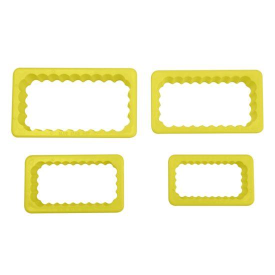 Jogo Cortadores de Pasta Americana e Biscuit Blue Star Retângulos Babados com 4 Peças