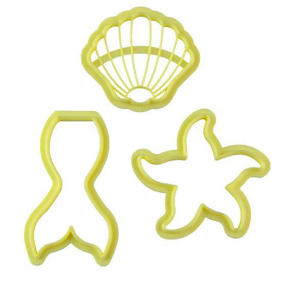 Jogo Cortadores de Pasta Americana e Biscuit Blue Star Sereia com 3 Peças