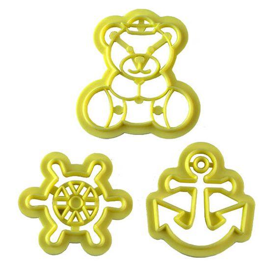 Jogo Cortadores de Pasta Americana e Biscuit Blue Star Ursinho Marinheiro com 3 Peças