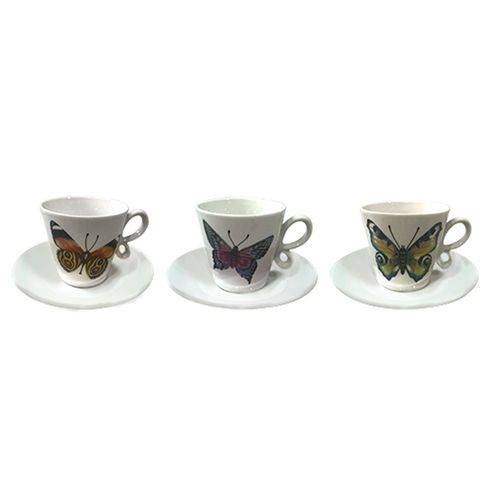 Jogo de 12 Peças P/ Café Coffe Time Borboletas Porcelana 90ml 23359 - Dynasty