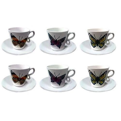 Jogo de 12 Peças para Café Coffee Time em Porcelana 80 Ml Dynasty