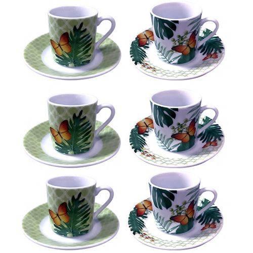 Jogo de 12 Peças para Café Coffee Time em Porcelana 90 Ml Dynasty