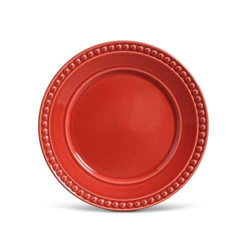 Jogo de 6 Pratos Raso Atenas Vermelho