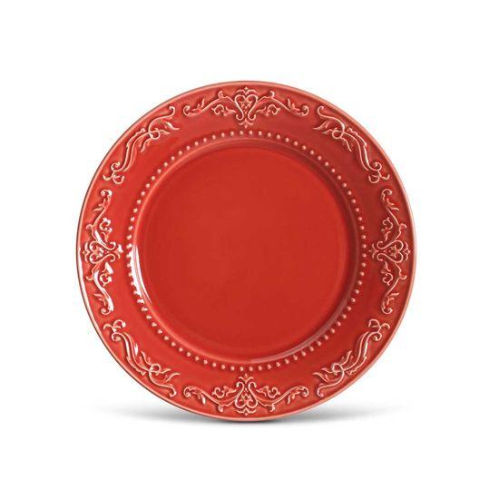 Jogo de 6 Pratos Rasos Acanthus Vermelho