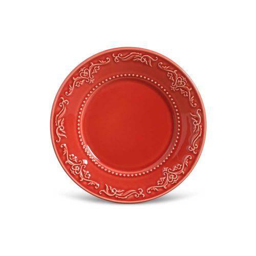 Jogo de 6 Pratos Sobremesa Acanthus Vermelho
