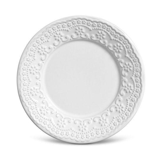 Jogo de 6 Pratos Sobremesa Madeleine Branco