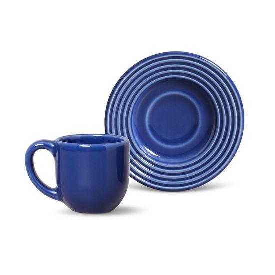 Jogo de 6 Xícaras de Café com Pires Argos Azul Navy