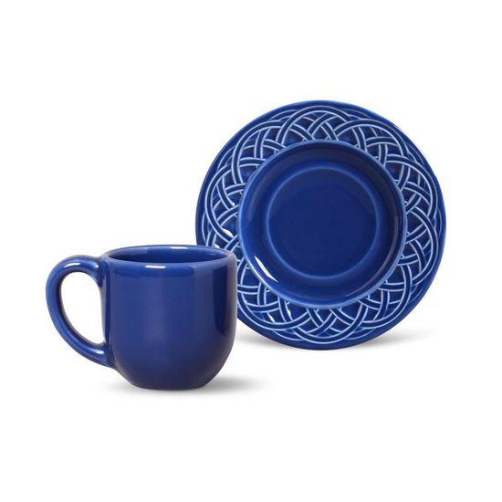 Jogo de 6 Xícaras de Café com Pires Cestino Azul Navy