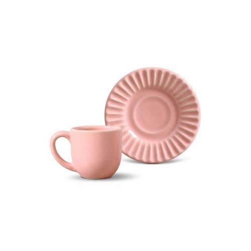 Jogo de 6 Xícaras de Café Plissé Rosa