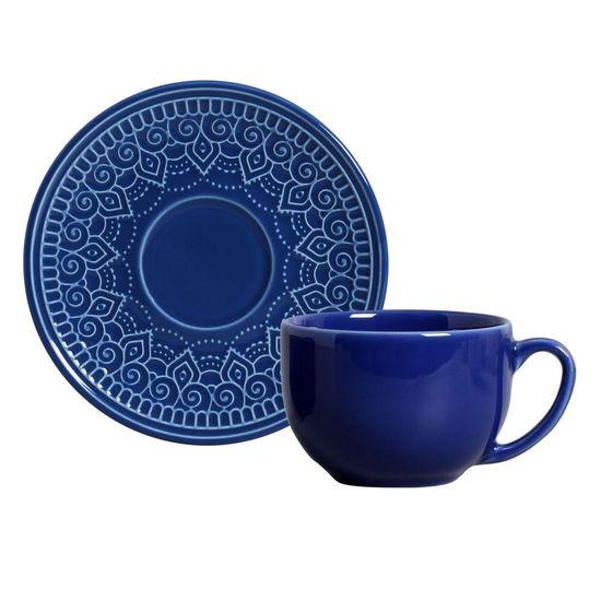 Jogo de 6 Xícaras de Chá com Pires Agra Azul Navy