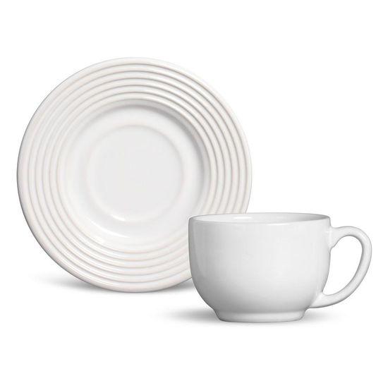 Jogo de 6 Xícaras de Chá com Pires Argos Branco