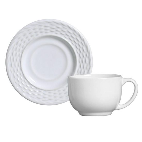 Jogo de 6 Xícaras de Chá com Pires Bali Branco