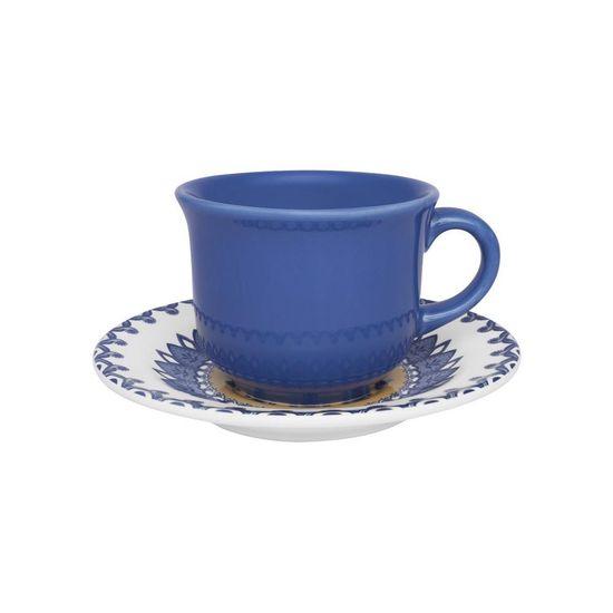 Jogo de 6 Xícaras de Chá com Pires Floreal La Carreta Branco e Azul