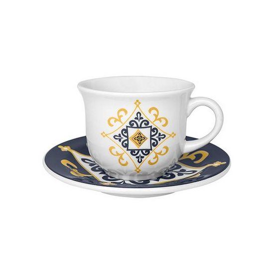 Jogo de 6 Xícaras de Chá com Pires Floreal São Luis