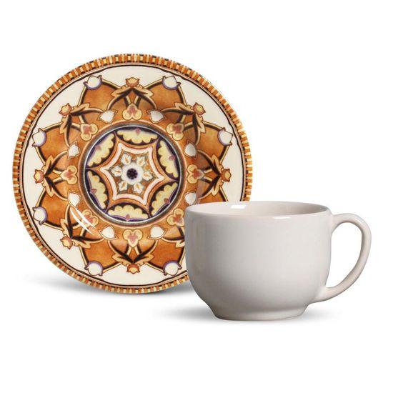Jogo de 6 Xícaras de Chá com Pires Mônaco Arabian