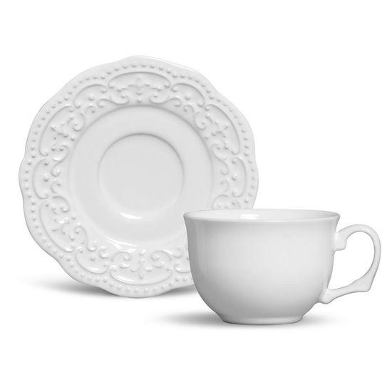 Jogo de 6 Xícaras de Chá com Pires Passion Branco