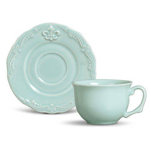 Jogo de 6 Xícaras de Chá Flor de Lis Verde