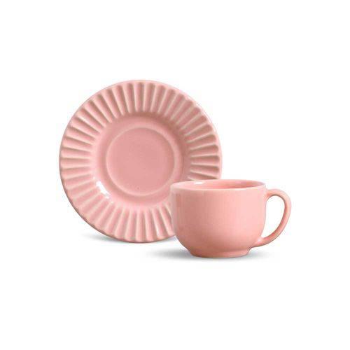 Jogo de 6 Xícaras de Chá Plissé Rosa