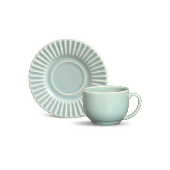 Jogo de 6 Xícaras de Chá Plissê Verde