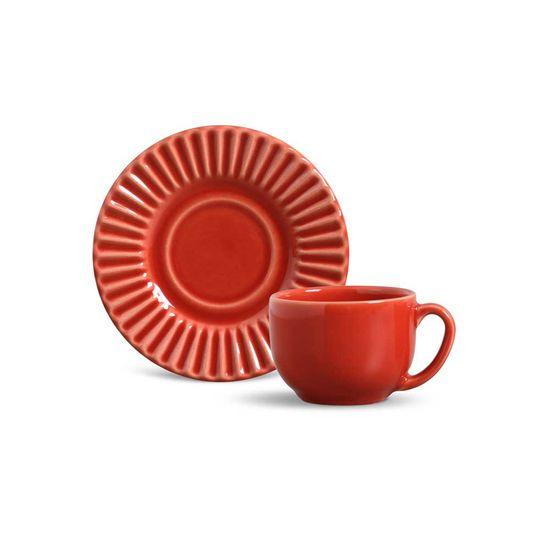 Jogo de 6 Xícaras de Chá Plissé Vermelho