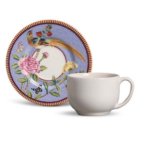 Jogo de 6 Xícaras de Chá Porto Brasil Mônaco Chinoiserie