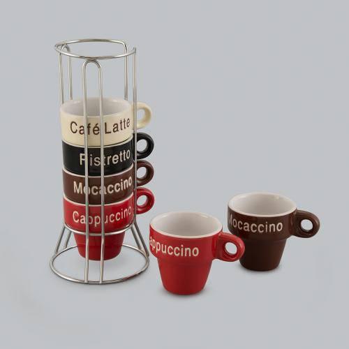 Jogo de 6 Xícaras para Café Names com Suporte