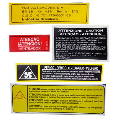Jogo de Adesivos de Orientação Técnica - Fiat Uno Elba Prêmio 1984 a 2000