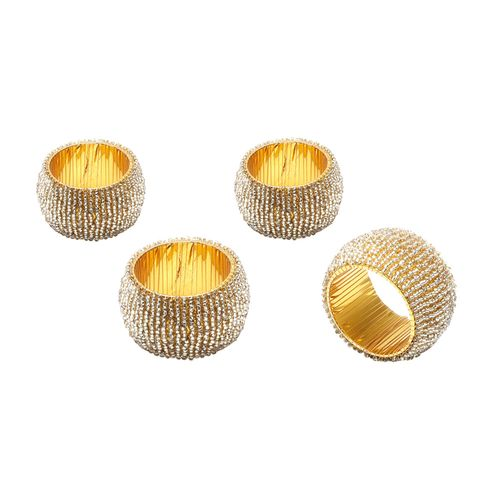 Jogo de Anéis de Miçangas para Guardanapo Bon Gourmet Soft 4 Peças Dourado