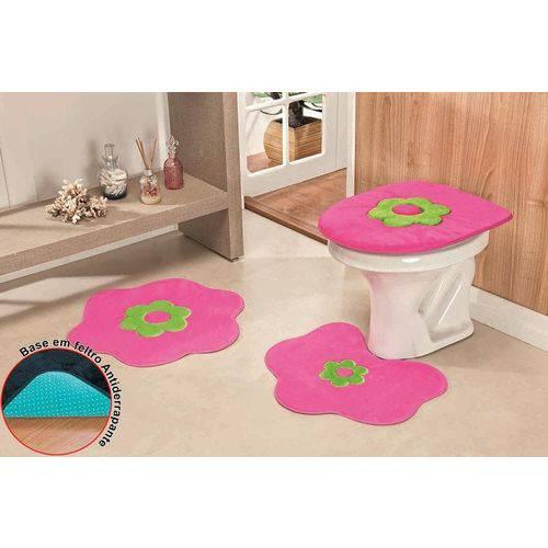 Jogo de Banheiro Form.Stand. Margarida Premium 3Pçs Pink