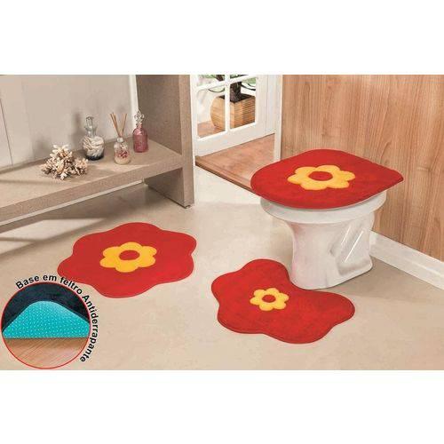 Jogo de Banheiro Form.Stand. Margarida Premium 3Pçs Vermelho