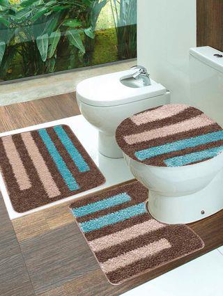 Jogo de Banheiro Jolitex Van Gogh Marrom/azul