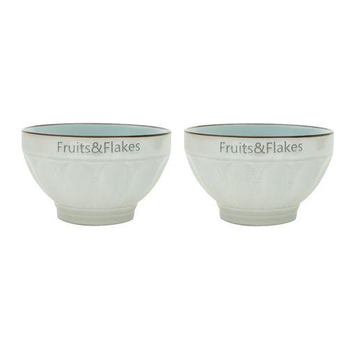 Jogo de Bowls em Porcelana Bon Gourmet Allure 2 Peças 700ml Azul