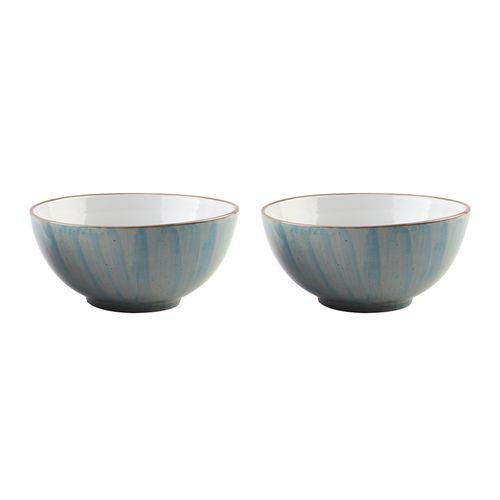 Jogo de Bowls em Porcelana Bon Gourmet Watercolor 14cm 2 Peças Azul